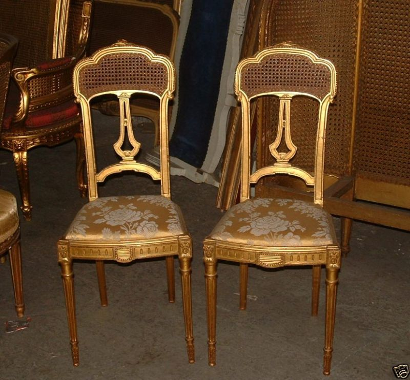 19th c period french louis xvi caned cane salon chairs ebay seller