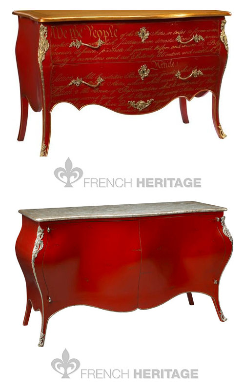 U s constitution commode in red and gold jourdan buffet by french heritage - Commode buffet design ...